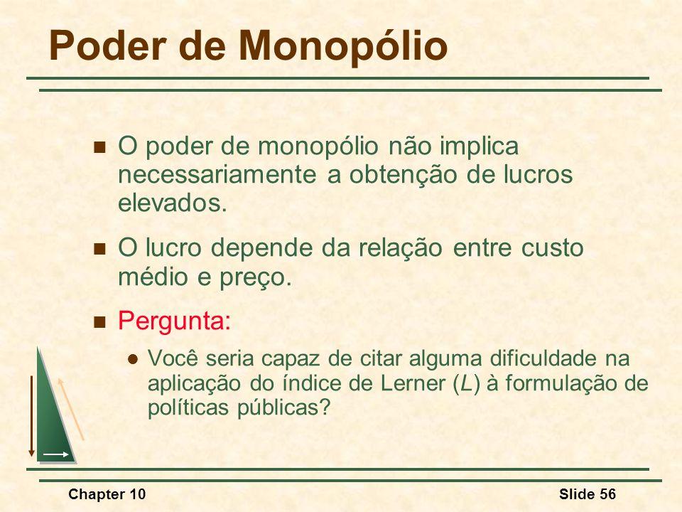 Chapter 10Slide 56 Poder de Monopólio  O poder de monopólio não implica necessariamente a obtenção de lucros elevados.