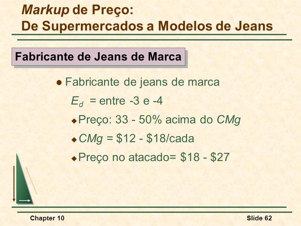 Chapter 10Slide 62  Fabricante de jeans de marca E d = entre -3 e -4  Preço: 33 - 50% acima do CMg  CMg = $12 - $18/cada  Preço no atacado= $18 - $27 Markup de Preço: De Supermercados a Modelos de Jeans Fabricante de Jeans de Marca