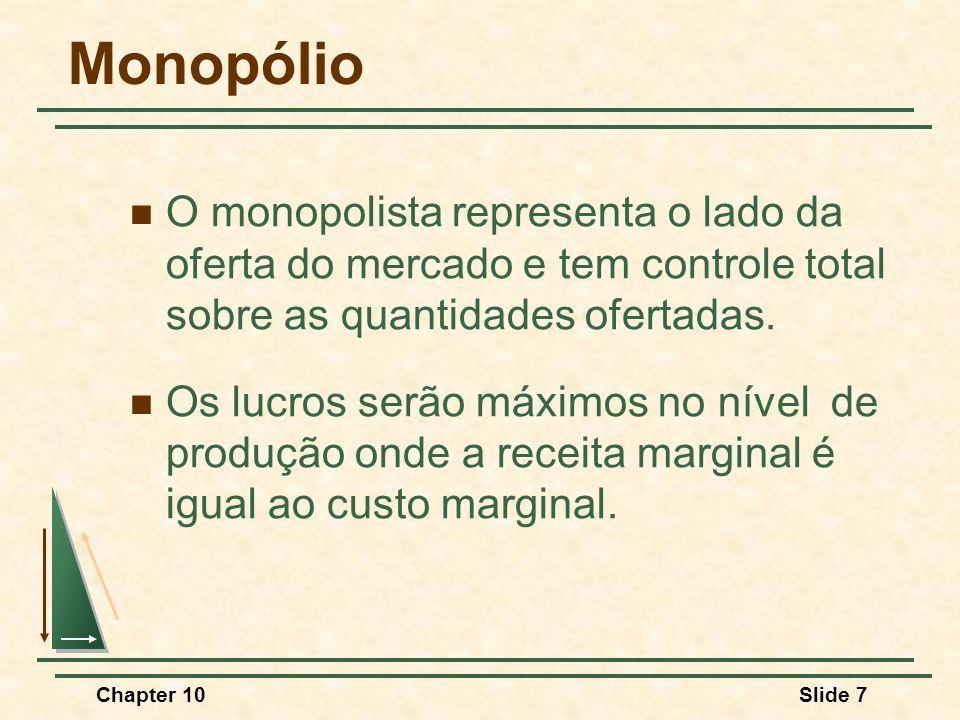Chapter 10Slide 48 Produção com duas Fábricas Quantidade $/Q D = RMe RMg CMg 1 CMg 2 CMg T RMg* Q1Q1 Q2Q2 Q3Q3 P*