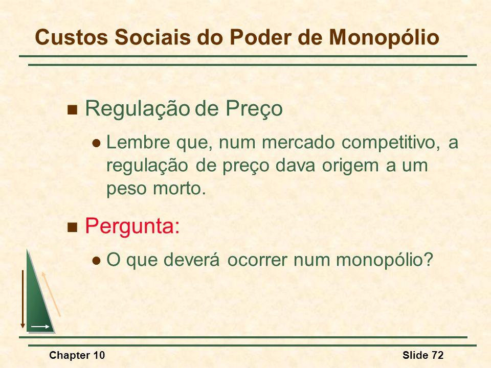 Chapter 10Slide 72  Regulação de Preço  Lembre que, num mercado competitivo, a regulação de preço dava origem a um peso morto.