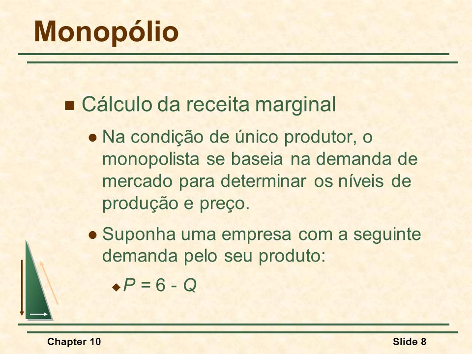 Chapter 10Slide 8 Monopólio  Cálculo da receita marginal  Na condição de único produtor, o monopolista se baseia na demanda de mercado para determinar os níveis de produção e preço.