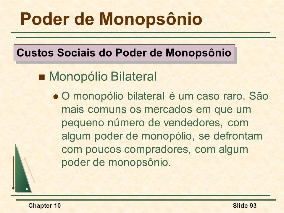 Chapter 10Slide 93 Poder de Monopsônio  Monopólio Bilateral  O monopólio bilateral é um caso raro.
