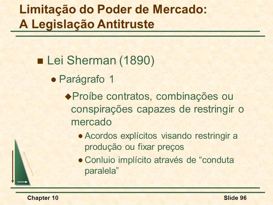 Chapter 10Slide 96  Lei Sherman (1890)  Parágrafo 1  Proíbe contratos, combinações ou conspirações capazes de restringir o mercado  Acordos explícitos visando restringir a produção ou fixar preços  Conluio implícito através de conduta paralela Limitação do Poder de Mercado: A Legislação Antitruste