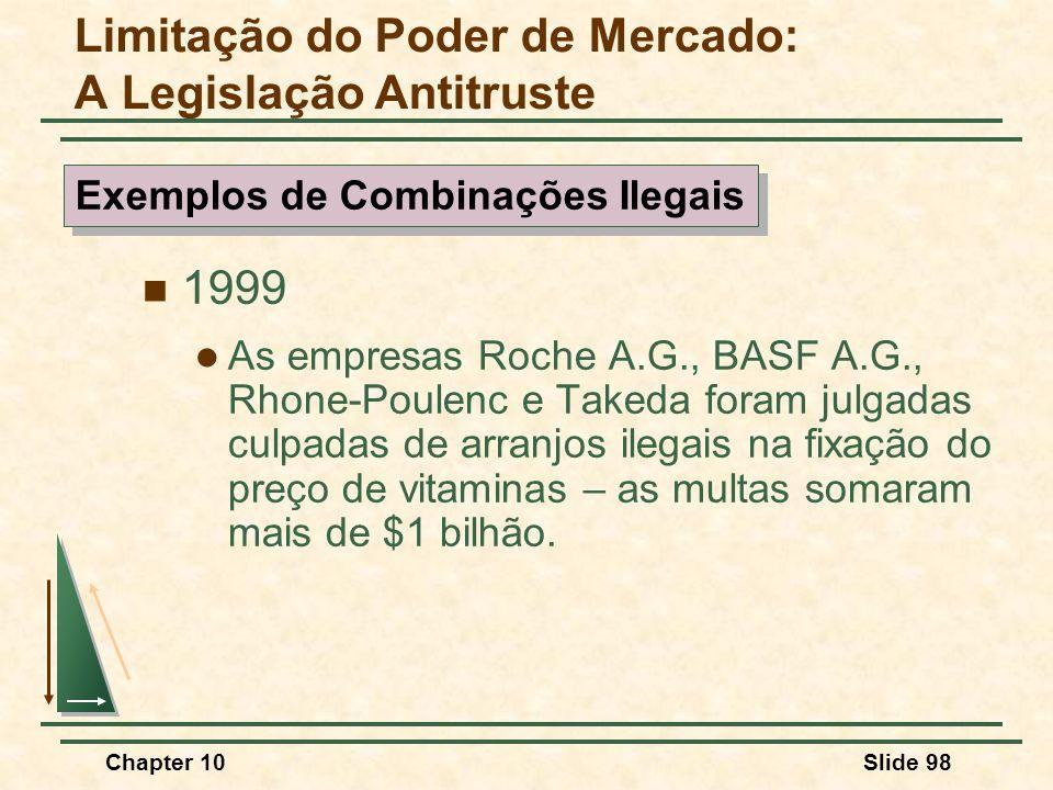 Chapter 10Slide 98  1999  As empresas Roche A.G., BASF A.G., Rhone-Poulenc e Takeda foram julgadas culpadas de arranjos ilegais na fixação do preço de vitaminas – as multas somaram mais de $1 bilhão.