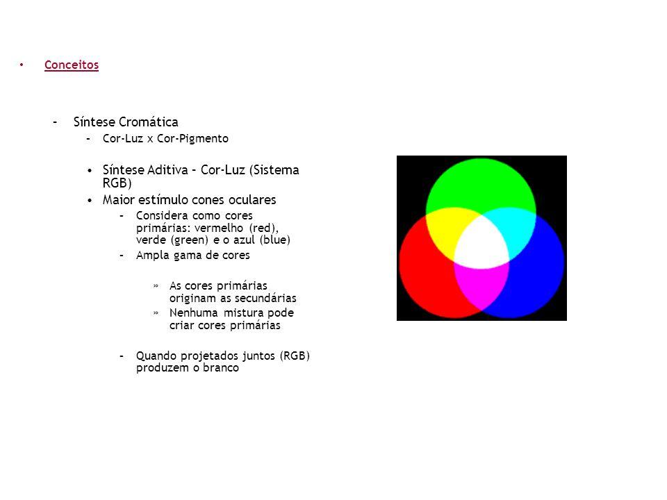 • Conceitos –Síntese Cromática –Cor-Luz x Cor-Pigmento •Síntese Aditiva – Cor-Luz (Sistema RGB) •Maior estímulo cones oculares –Considera como cores p