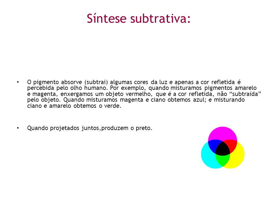 Síntese subtrativa: • O pigmento absorve (subtrai) algumas cores da luz e apenas a cor refletida é percebida pelo olho humano. Por exemplo, quando mis