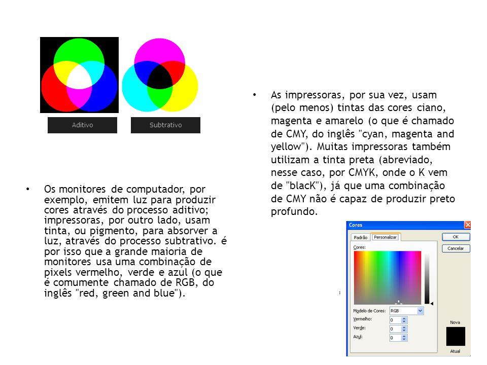 Aditivo Subtrativo • Os monitores de computador, por exemplo, emitem luz para produzir cores através do processo aditivo; impressoras, por outro lado,