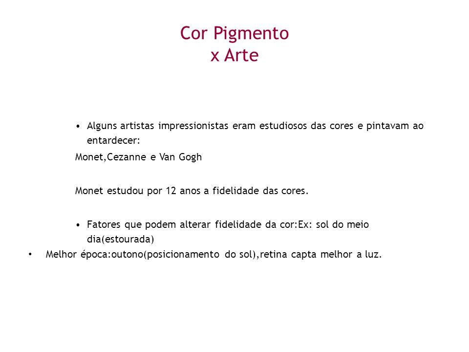 Cor Pigmento x Arte •Alguns artistas impressionistas eram estudiosos das cores e pintavam ao entardecer: Monet,Cezanne e Van Gogh Monet estudou por 12