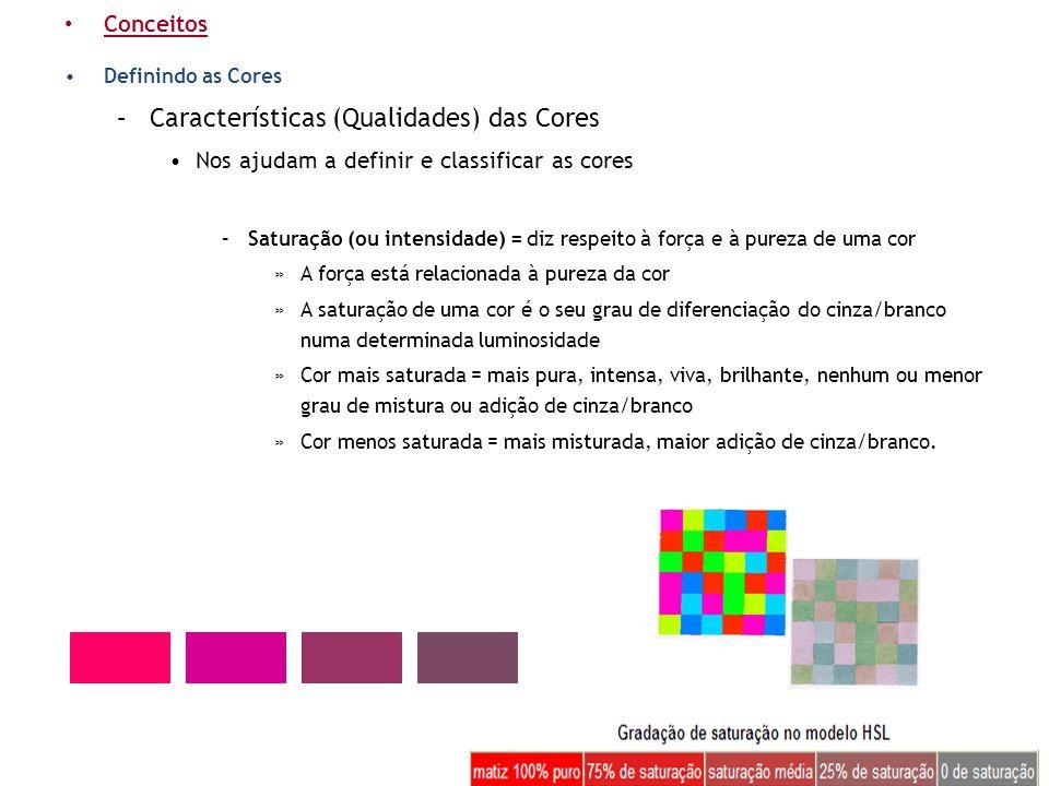 • Conceitos •Definindo as Cores –Características (Qualidades) das Cores •Nos ajudam a definir e classificar as cores –Saturação (ou intensidade) = diz