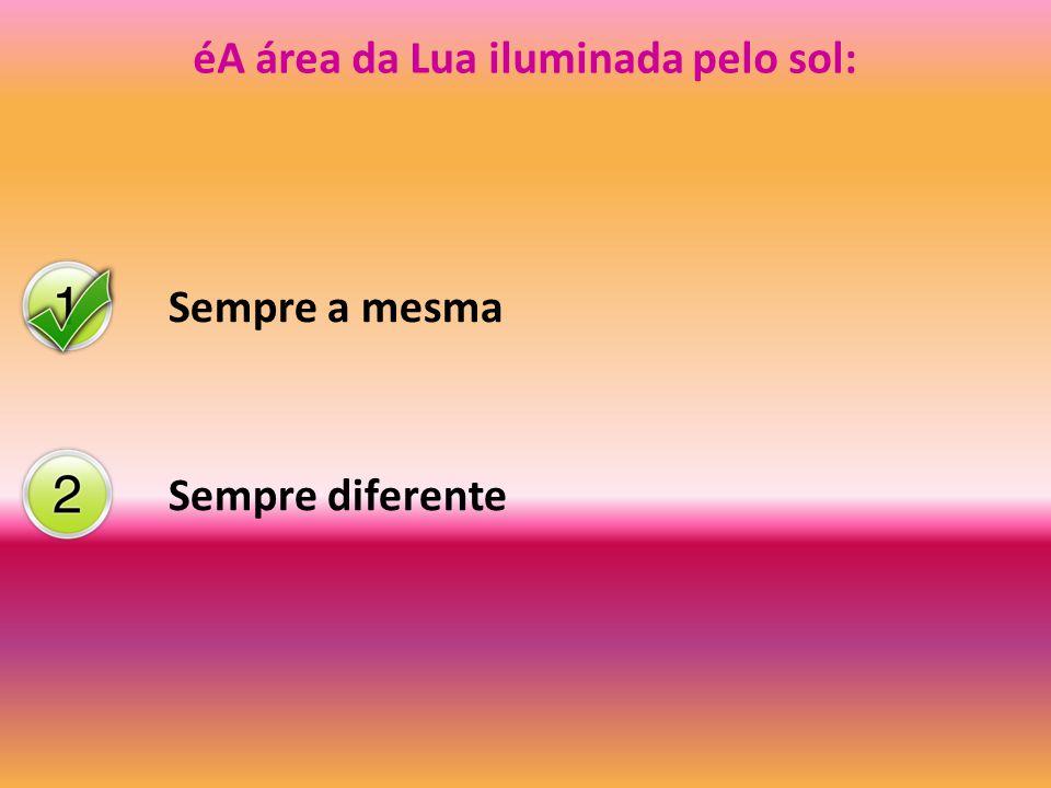 éA área da Lua iluminada pelo sol: Sempre a mesma Sempre diferente