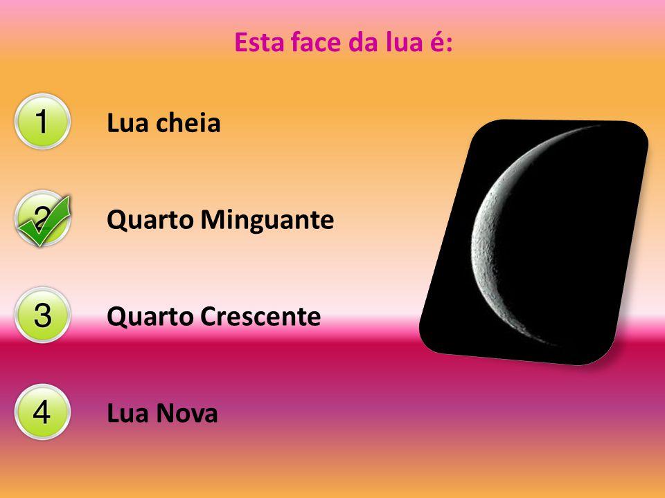 Esta face da lua é: Lua cheia Quarto Minguante Quarto Crescente Lua Nova