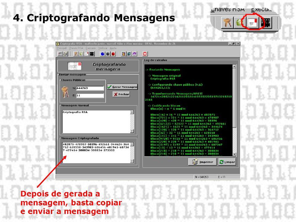 4. Criptografando Mensagens Depois de gerada a mensagem, basta copiar e enviar a mensagem