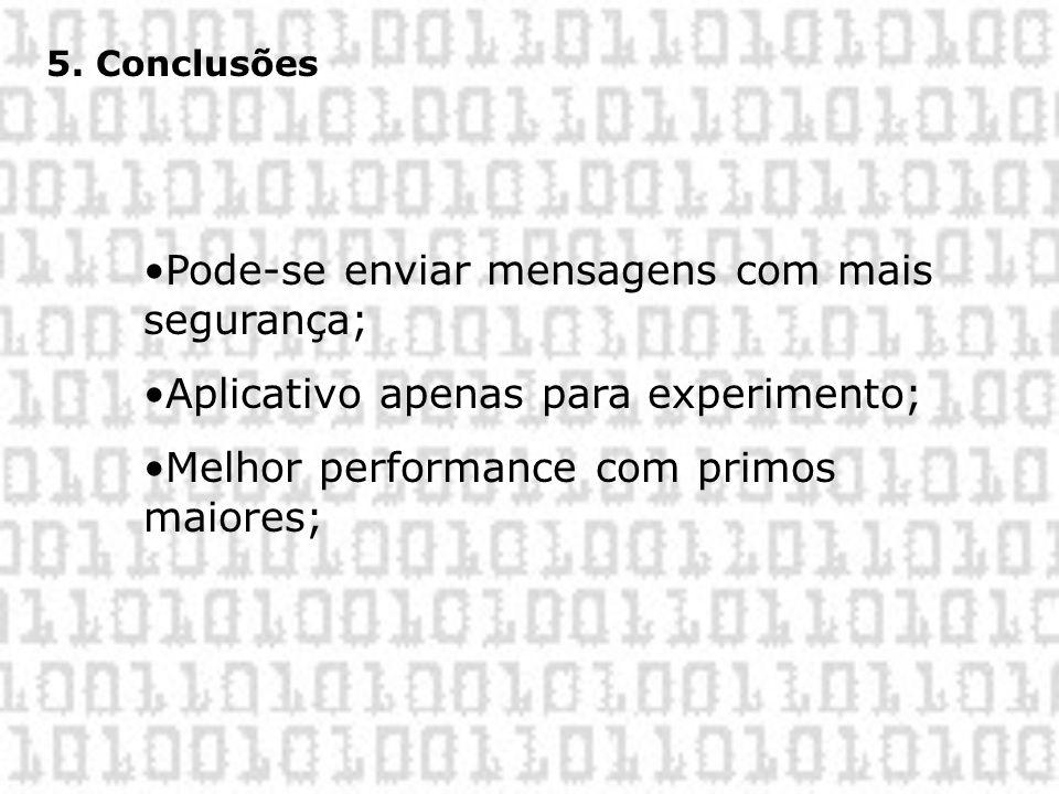 5. Conclusões •Pode-se enviar mensagens com mais segurança; •Aplicativo apenas para experimento; •Melhor performance com primos maiores;