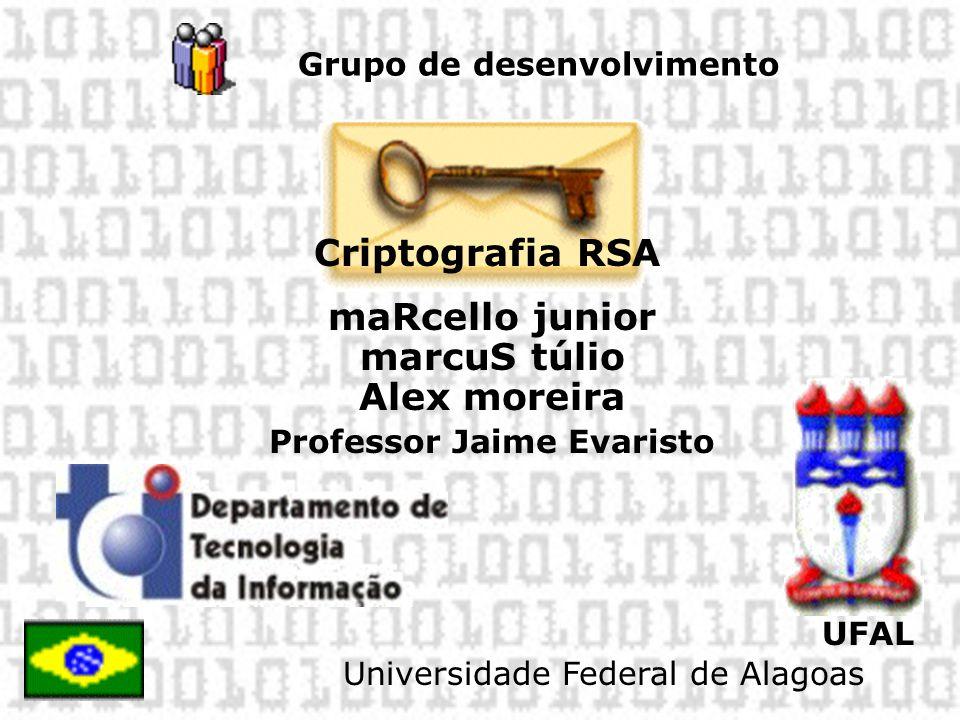 Grupo de desenvolvimento Criptografia RSA maRcello junior marcuS túlio Alex moreira Professor Jaime Evaristo UFAL Universidade Federal de Alagoas