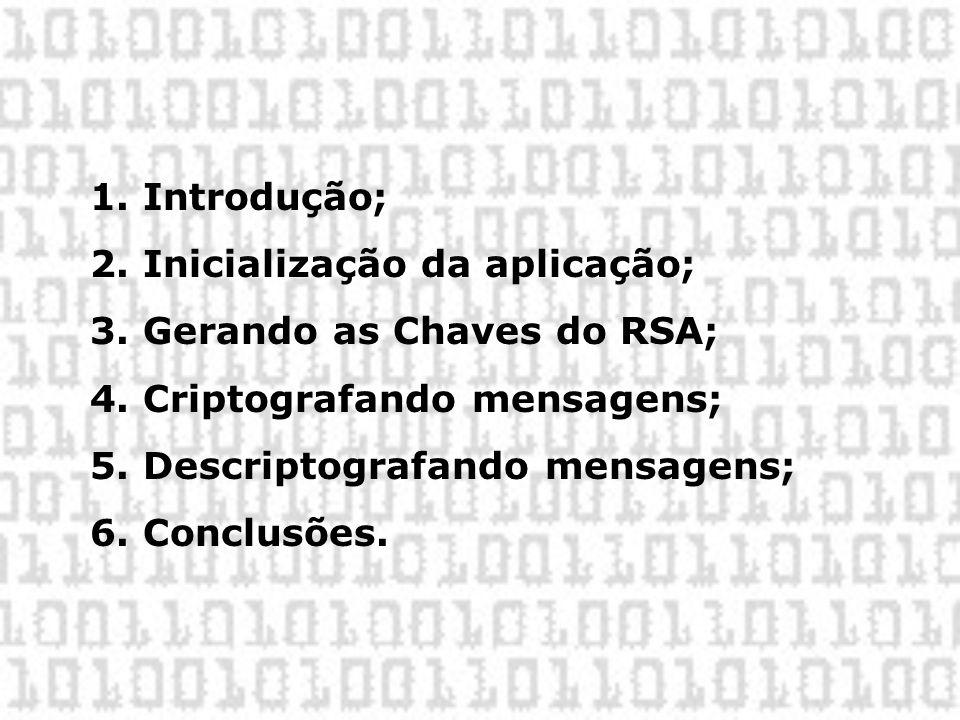 1. Introdução; 2. Inicialização da aplicação; 3. Gerando as Chaves do RSA; 4. Criptografando mensagens; 5. Descriptografando mensagens; 6. Conclusões.
