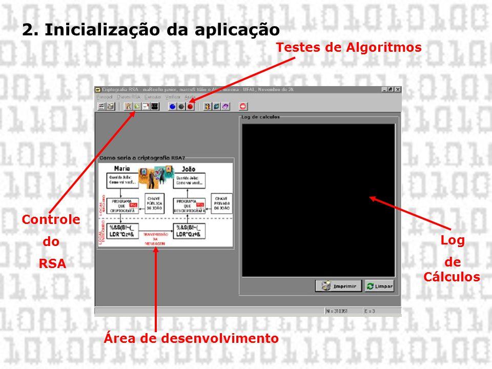 2. Inicialização da aplicação Controle do RSA Testes de Algoritmos Área de desenvolvimento Log de Cálculos