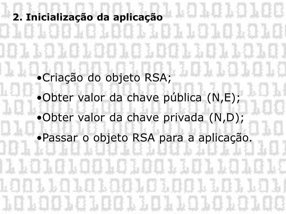 2. Inicialização da aplicação •Criação do objeto RSA; •Obter valor da chave pública (N,E); •Obter valor da chave privada (N,D); •Passar o objeto RSA p