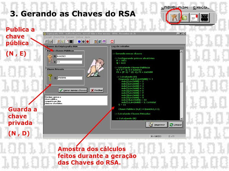 3. Gerando as Chaves do RSA Amostra dos cálculos feitos durante a geração das Chaves do RSA. Publica a chave pública (N, E) Guarda a chave privada (N,
