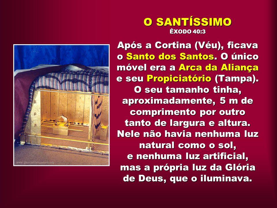 O SANTÍSSIMO ÊXODO 40:3 Após a Cortina (Véu), ficava o Santo dos Santos. O único móvel era a Arca da Aliança e seu Propiciatório (Tampa). O seu tamanh