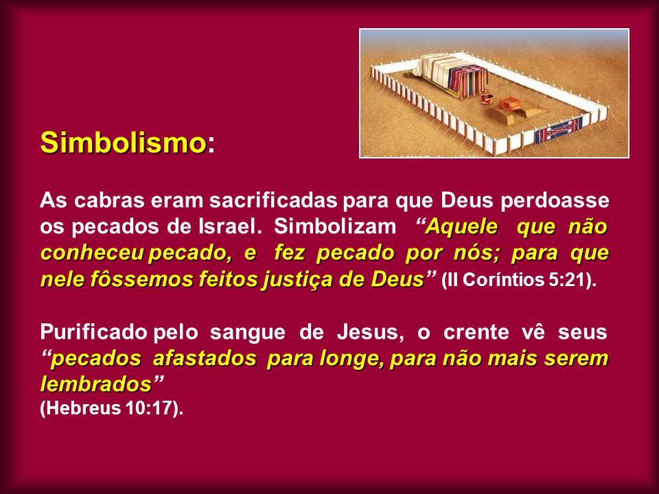 Simbolismo Aquele que não conheceu pecado, e fez pecado por nós; para que nele fôssemos feitos justiça de Deus pecados afastados para longe, para não
