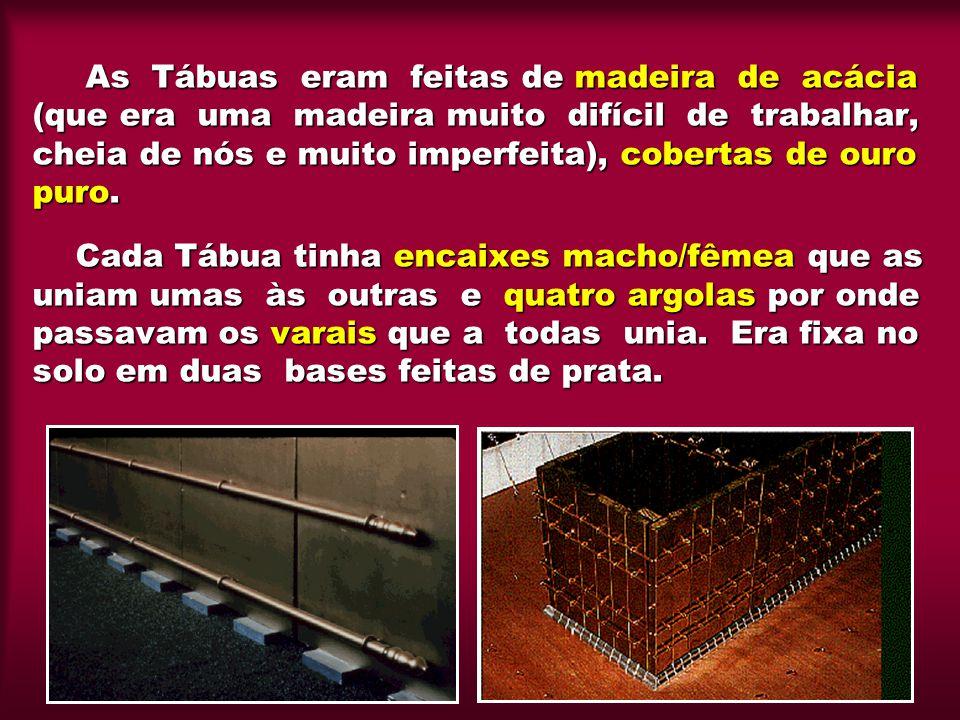 As Tábuas eram feitas de madeira de acácia (que era uma madeira muito difícil de trabalhar, cheia de nós e muito imperfeita), cobertas de ouro puro. C