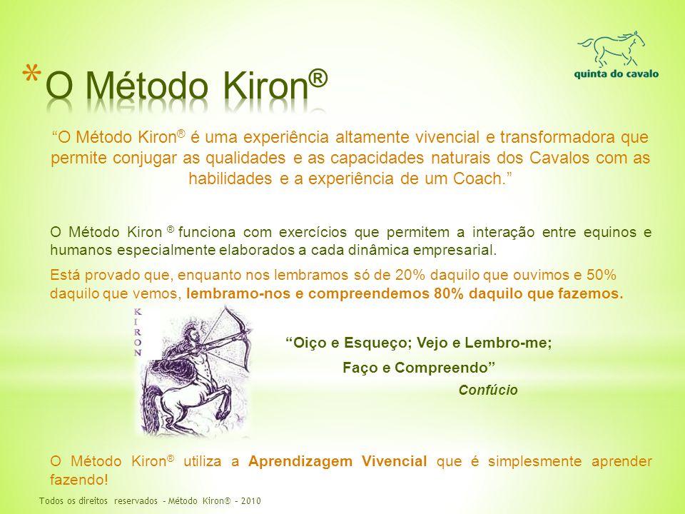 """""""O Método Kiron ® é uma experiência altamente vivencial e transformadora que permite conjugar as qualidades e as capacidades naturais dos Cavalos com"""