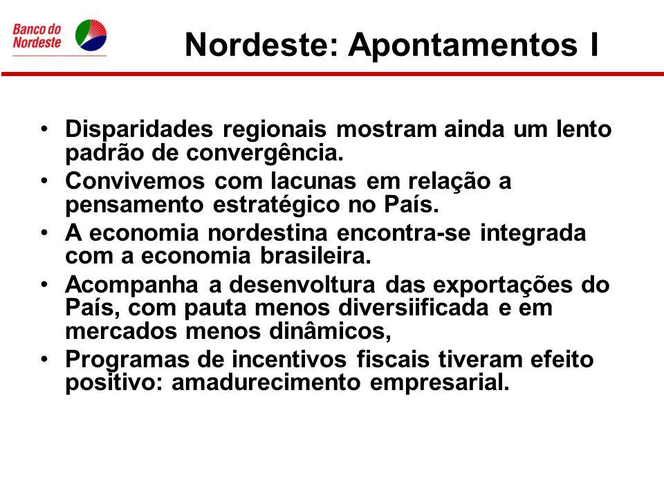 Nordeste: Apontamentos I •Disparidades regionais mostram ainda um lento padrão de convergência.