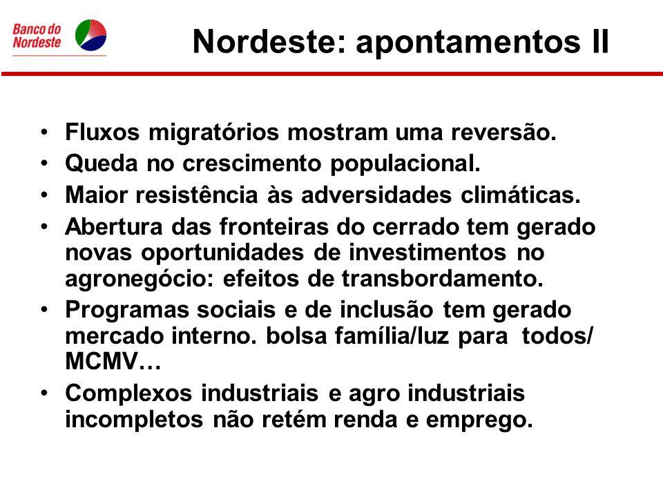 Nordeste: apontamentos III •Circuitos financeiros são débeis, responsáveis por vazamentos (relação depósitos/crédito > 1).