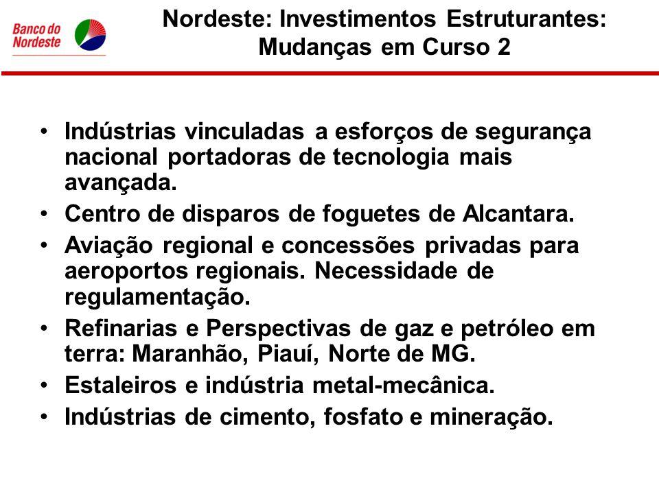 Nordeste: Investimentos Estruturantes: Mudanças em Curso 3 •Eficiencia energética e melhor utilização dos recursos hídricos.