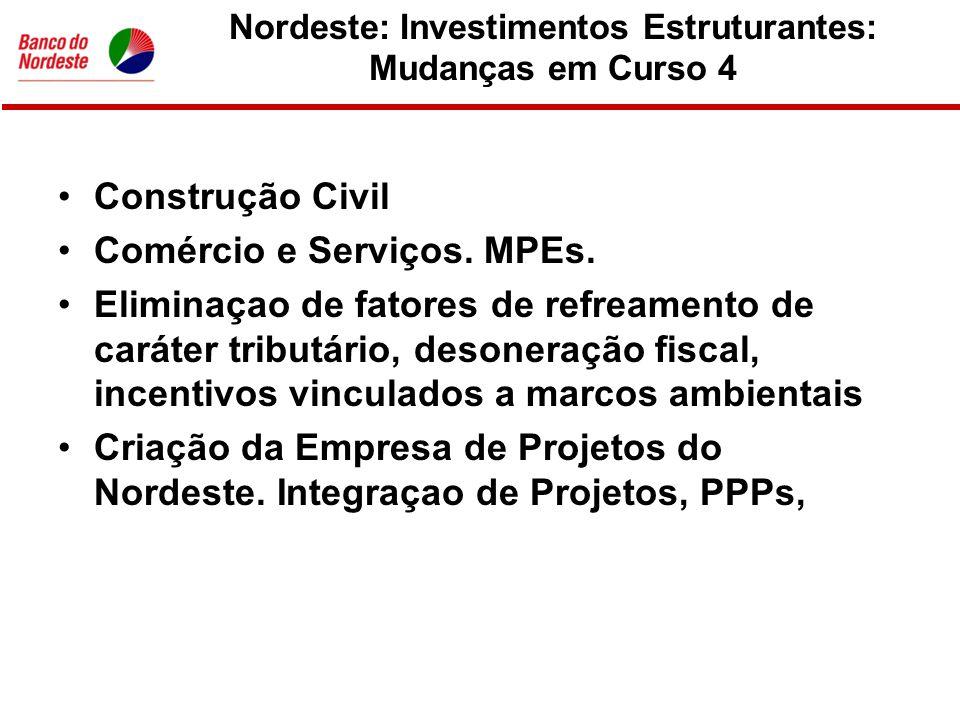 Nordeste: Investimentos Estruturantes: Mudanças em Curso 4 •Construção Civil •Comércio e Serviços.