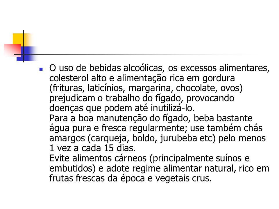 O uso de bebidas alcoólicas, os excessos alimentares, colesterol alto e alimentação rica em gordura (frituras, laticínios, margarina, chocolate, ovo