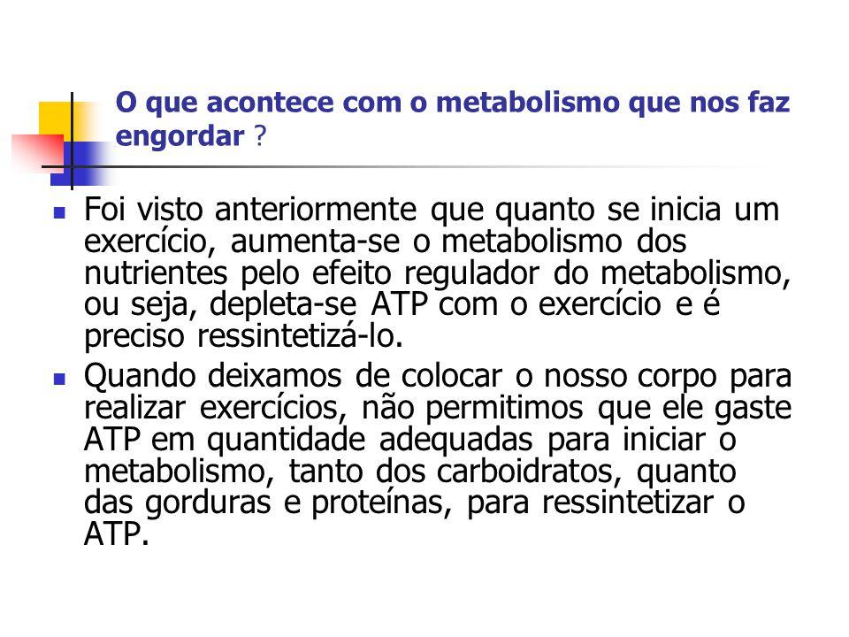 O que acontece com o metabolismo que nos faz engordar ?  Foi visto anteriormente que quanto se inicia um exercício, aumenta-se o metabolismo dos nutr