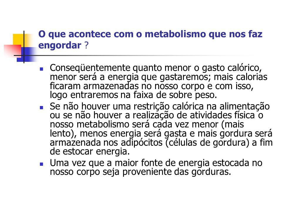 O que acontece com o metabolismo que nos faz engordar ?  Conseqüentemente quanto menor o gasto calórico, menor será a energia que gastaremos; mais ca