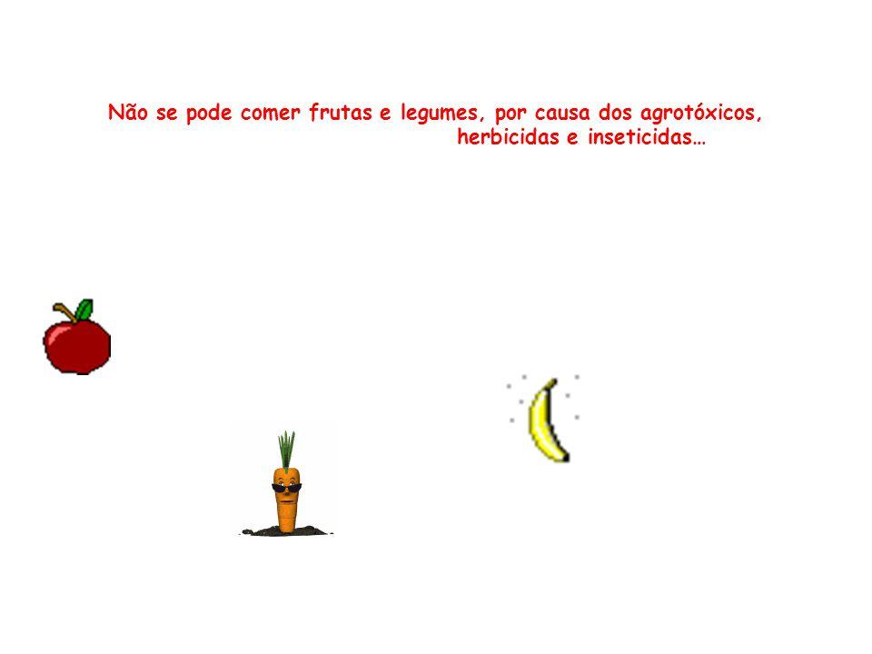 Não se pode comer frutas e legumes, por causa dos agrotóxicos, herbicidas e inseticidas…