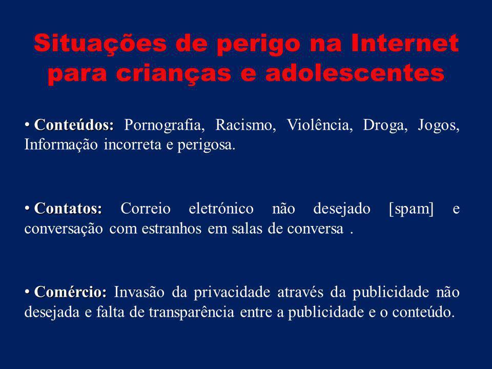 Situações de perigo na Internet para crianças e adolescentes • Conteúdos: • Conteúdos: Pornografia, Racismo, Violência, Droga, Jogos, Informação incorreta e perigosa.