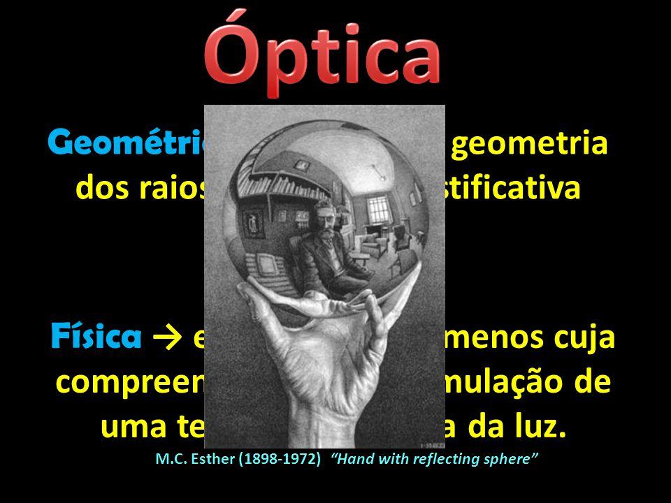 Geométrica → estudo da geometria dos raios de luz (sem justificativa desse traçado). Física → estudo dos fenômenos cuja compreensão exige a formulação