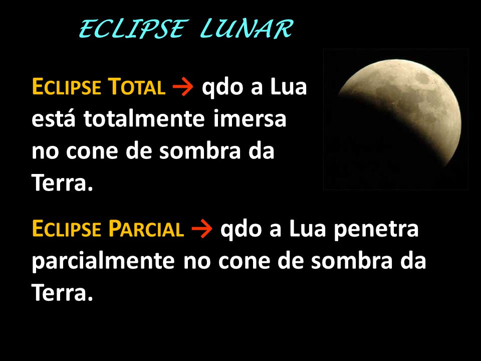 ECLIPSE LUNAR E CLIPSE T OTAL → qdo a Lua está totalmente imersa no cone de sombra da Terra. E CLIPSE P ARCIAL → qdo a Lua penetra parcialmente no con