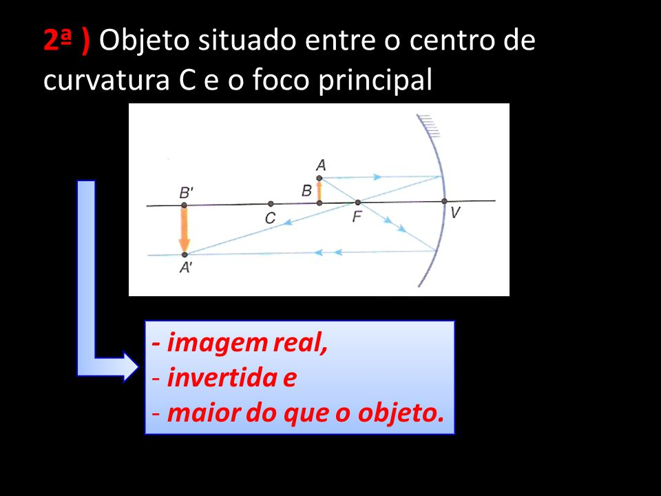 2ª ) Objeto situado entre o centro de curvatura C e o foco principal - imagem real, - invertida e - maior do que o objeto. - imagem real, - invertida
