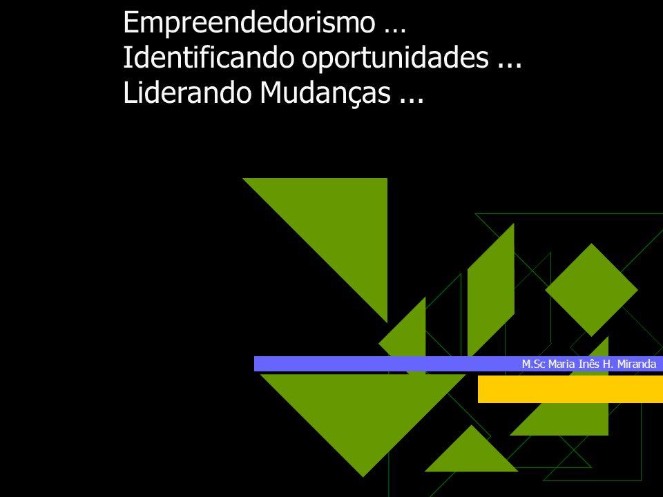 M.Sc Maria Inês H. Miranda Empreendedorismo … Identificando oportunidades... Liderando Mudanças...