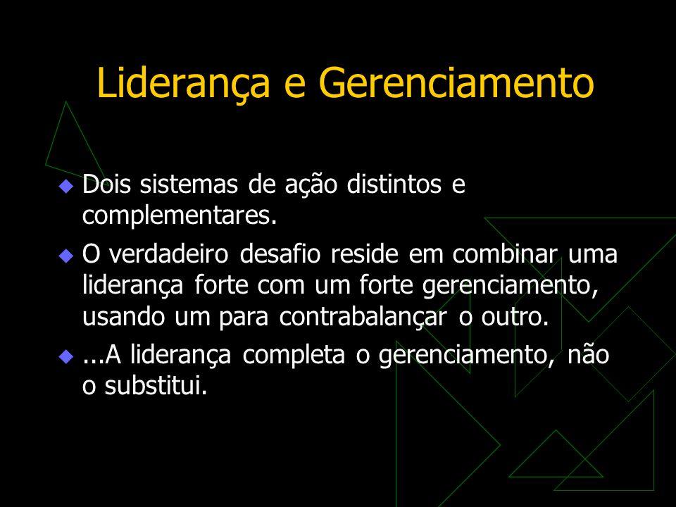 Liderança e Gerenciamento  Dois sistemas de ação distintos e complementares.  O verdadeiro desafio reside em combinar uma liderança forte com um for