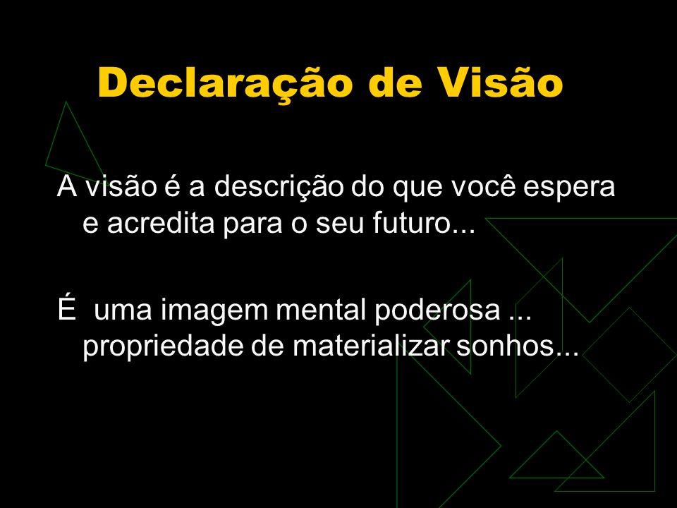 Declaração de Visão A visão é a descrição do que você espera e acredita para o seu futuro... É uma imagem mental poderosa... propriedade de materializ