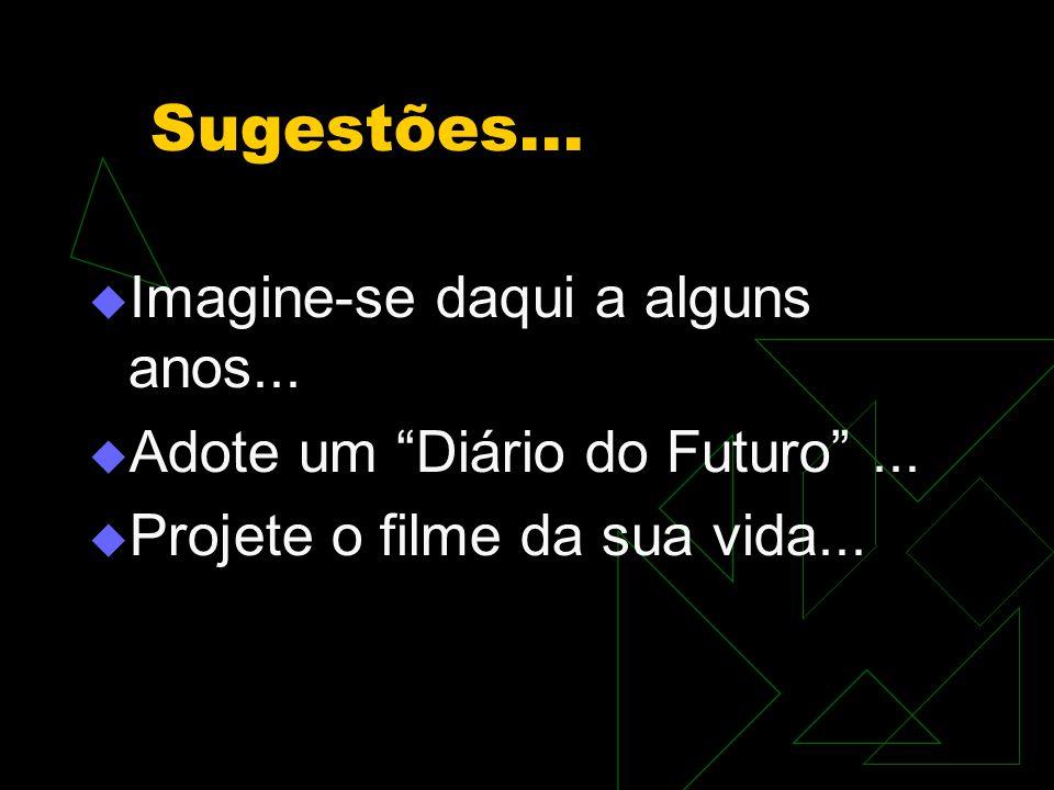 """Sugestões...  Imagine-se daqui a alguns anos...  Adote um """"Diário do Futuro""""...  Projete o filme da sua vida..."""