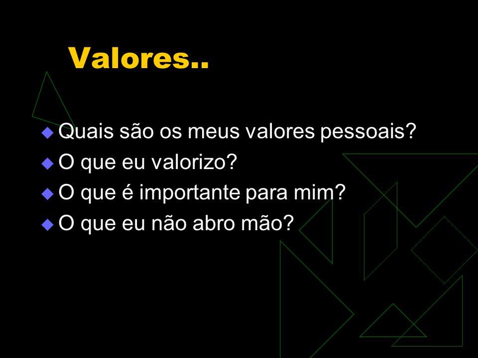 Valores..  Quais são os meus valores pessoais?  O que eu valorizo?  O que é importante para mim?  O que eu não abro mão?