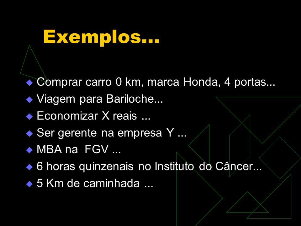 Exemplos...  Comprar carro 0 km, marca Honda, 4 portas...  Viagem para Bariloche...  Economizar X reais...  Ser gerente na empresa Y...  MBA na F
