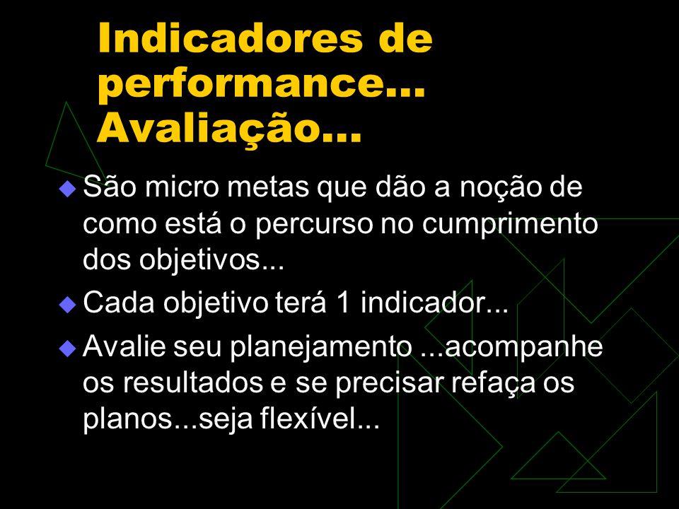 Indicadores de performance... Avaliação...  São micro metas que dão a noção de como está o percurso no cumprimento dos objetivos...  Cada objetivo t