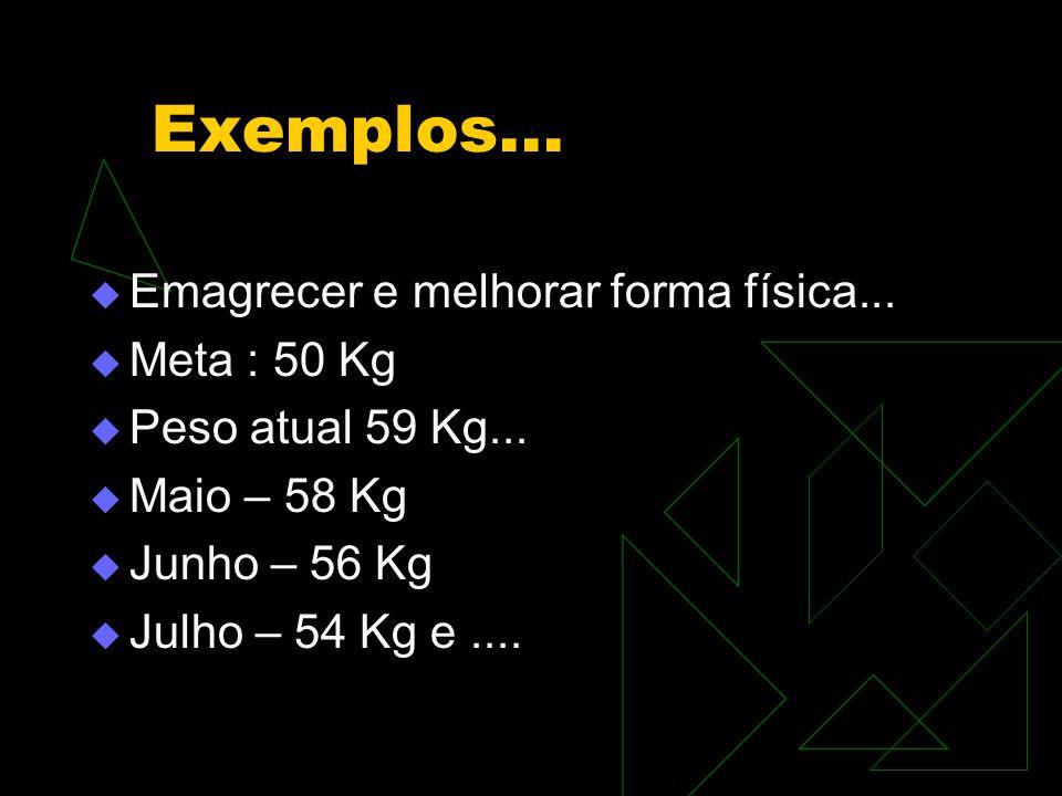 Exemplos...  Emagrecer e melhorar forma física...  Meta : 50 Kg  Peso atual 59 Kg...  Maio – 58 Kg  Junho – 56 Kg  Julho – 54 Kg e....
