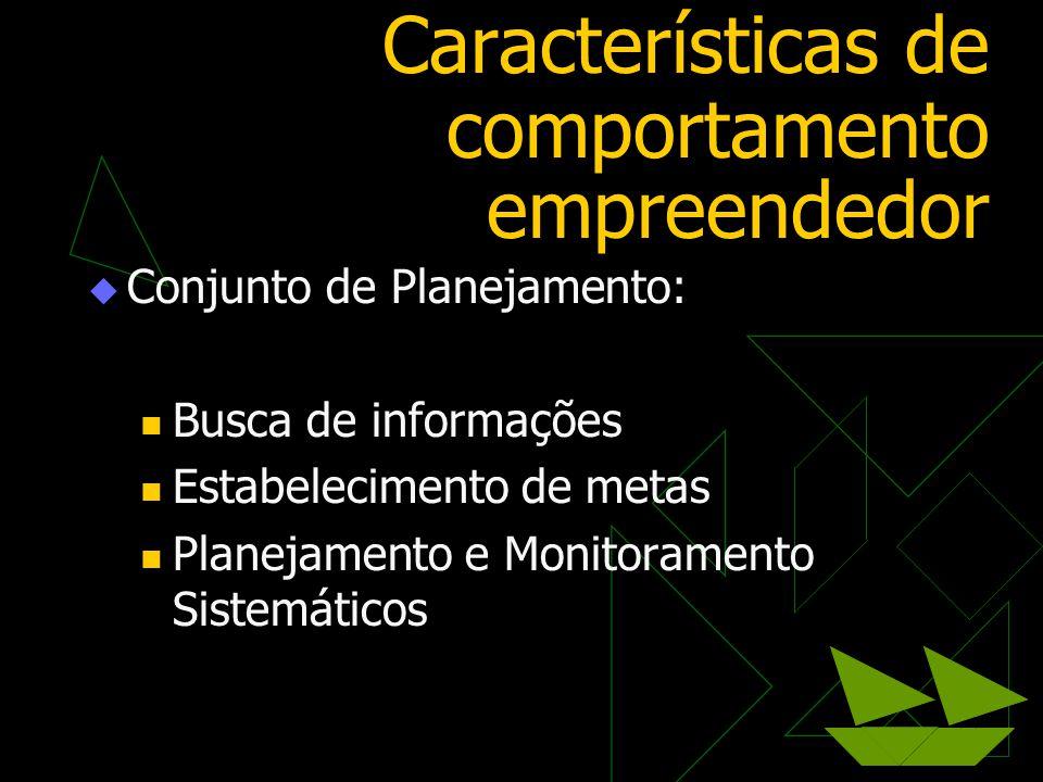 Características de comportamento empreendedor  Conjunto de Planejamento:  Busca de informações  Estabelecimento de metas  Planejamento e Monitoram