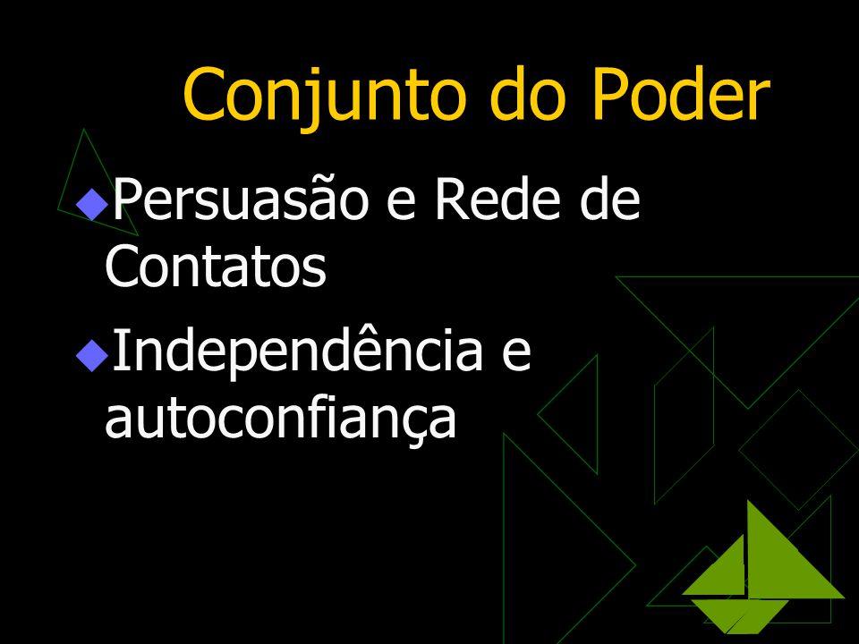 Conjunto do Poder  Persuasão e Rede de Contatos  Independência e autoconfiança