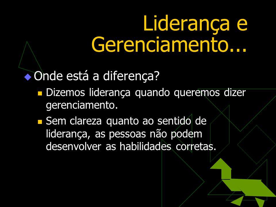 Liderança e Gerenciamento...  Onde está a diferença?  Dizemos liderança quando queremos dizer gerenciamento.  Sem clareza quanto ao sentido de lide