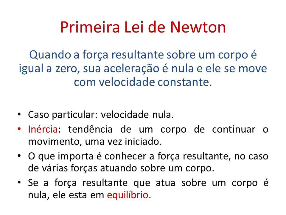 Primeira Lei de Newton Quando a força resultante sobre um corpo é igual a zero, sua aceleração é nula e ele se move com velocidade constante.